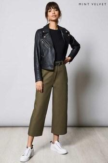 Mint Velvet Khaki Clean Cropped Trousers