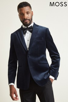 Moss 1851 Tailored Fit Blue Velvet Dress Jacket