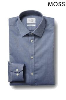 Moss 1851 Blue Tailored Fit Single Cuff Textured Iron Shirt