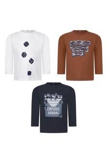 Baby Boys Cotton Long Sleeve T-Shirts Three Pack