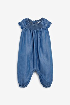 Denim Broderie Romper (0mths-2yrs)