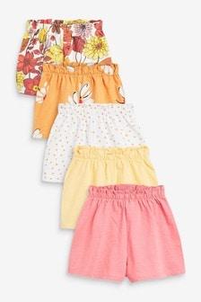 Orange Retro Floral 5 Pack Shorts (3mths-7yrs)