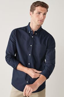 Navy Regular Fit Long Sleeve Oxford Shirt