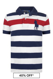 Boys Navy Striped Cotton Polo Top