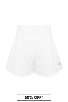 Carrement Beau Girls White Cotton Shorts