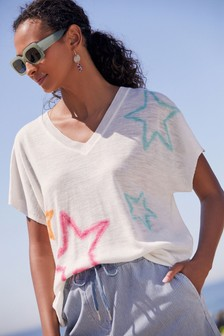 Ecru Star Linen Mix V-Neck T-Shirt