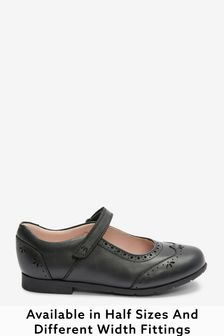 Black Standard Fit (F) Premium Leather Mary Janes