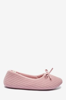 Pink Cable Ballerina Slippers