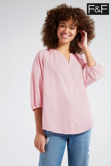 F&F Pink Textured Isabel Blouse