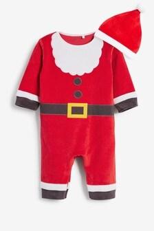 Red Christmas Santa Dress Up Velour Sleepsuit (0mths-3yrs)