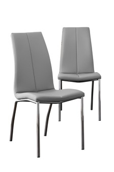 Faux Leather Silver Set of 2 Opus Dining Chairs with Chrome Legs