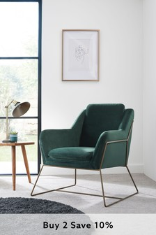 Opulent Velvet Bottle Green Holborn Accent Chair With Brass Legs