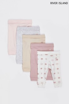 River Island Light Pink Girls Basic Legging Five Pack