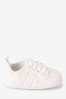White Lace-Up Pram Trainers (0-24mths)