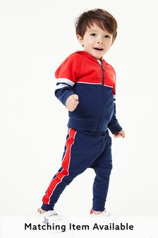 Navy/Red Colourblock Zip Through And Joggers Set (3mths-7yrs)