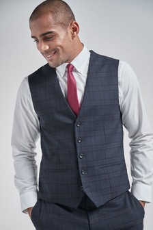 Navy/Red Check Suit: Waistcoat