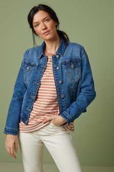 Blue Zip Up Denim Jacket