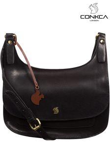 Conkca Black Ellipse Leather Cross Body Bag