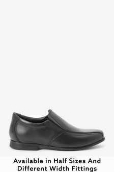 Black Standard Fit (F) Leather Formal Loafers
