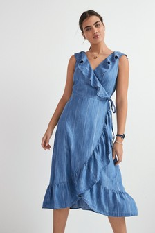 Blue Lurex Stripe Frill Ruffle Detail Wrap Dress