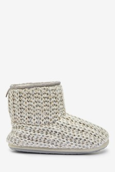 Grey Knitted Slipper Boots