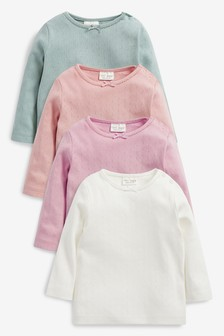 Multi 4 Pack Pointelle Jersey T-Shirts (0mths-2yrs)