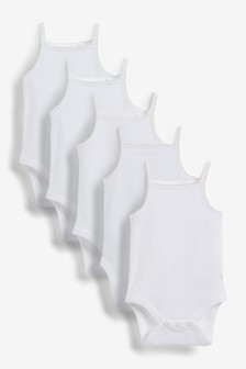 White/Pink 5 Pack Delicate Vest Bodysuits (0mths-3yrs)