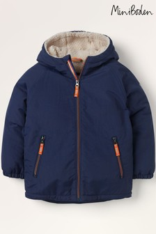 Mini Boden Navy Cosy Sherpa-Lined Anorak