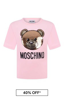 Girls Pink Cotton Sequin Teddy T-Shirt