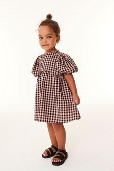 Peach Gingham Puff Sleeve Volume Dress (3mths-7yrs)