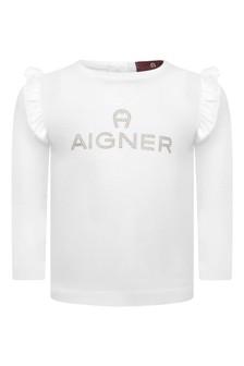Baby Girls White Cotton Long Sleeve T-Shirt