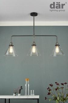 Dar Lighting Silver Ray 3 Light Pendant