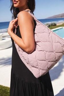 Pink Nylon Quilted Shoulder Bag