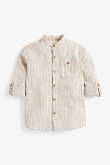 Neutral Stripe Roll Sleeve Grandad Shirt (3-16yrs)