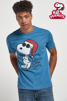 Blue Snoopy Christmas Licence T-Shirt