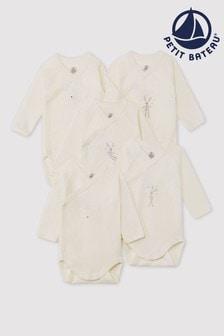 Petit Bateau White Bodysuits Five Pack