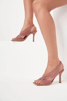 Pink Signature Leather Twist Detail Sandals