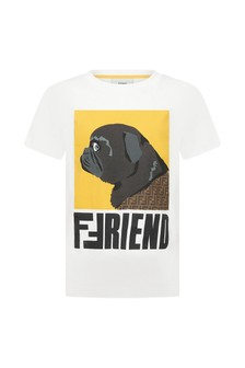 Fendi Kids White Cotton T-Shirt