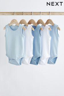 Blue 5 Pack Vest Bodysuits (0mths-3yrs)