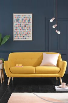Soft Marl Ochre Lacey Small Sofa With Light Legs