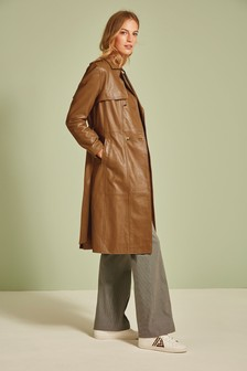 Tan Leather Belted Trench Coat