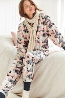 Pink Ski Scene Cosy Pyjamas
