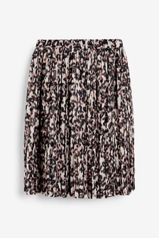 Monochrome Animal Pleated Skirt (3-16yrs)