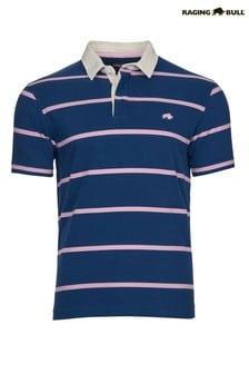 Raging Bull Blue Breton Stripe Rugby Shirt