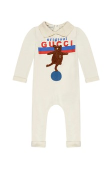 Baby White Cotton Bear Print Babygrow