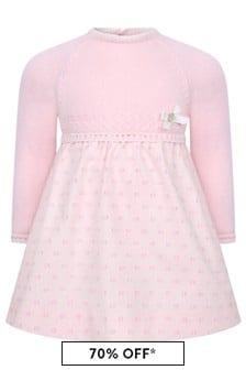 Baby Girls Pink Cotton & Wool Dress