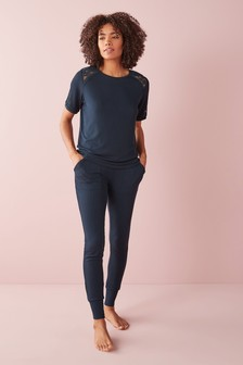 Navy Modal And Lace Pyjamas