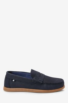 Navy Nubuck Penny Loafers (Older)