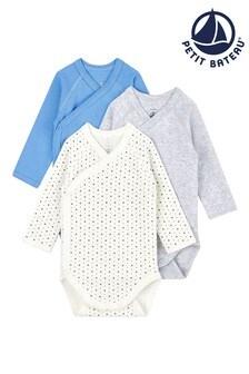 Petit Bateau Blue Multi Bodysuits 3 Pack