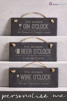 Personalised Wine O Clock Real Slate Sign by Loveabode
